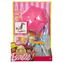 Barbie - Kerti bútorok kiegészítőkkel, napozószék napernyővel - Mattel