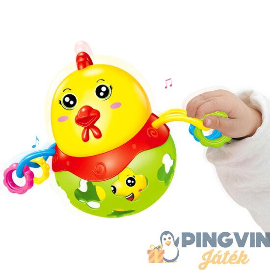 Műanyag és soft csirkés bébi csörgő labda