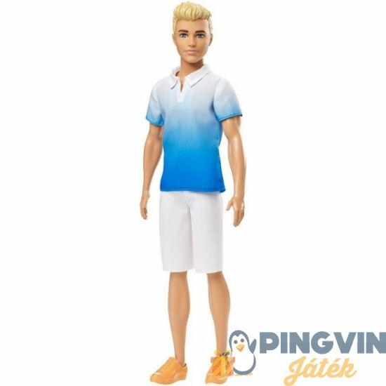 Barbie Fashionista Ken szőke,fehér nadrágos, galléros pólóban - Mattel