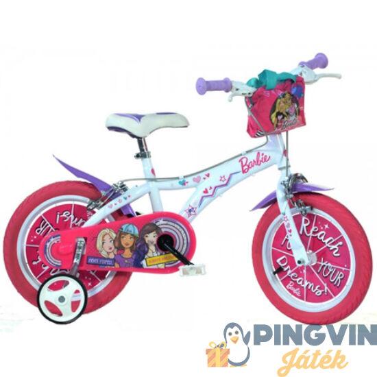 Barbie rózsaszín-fehér kerékpár 16-os méretben