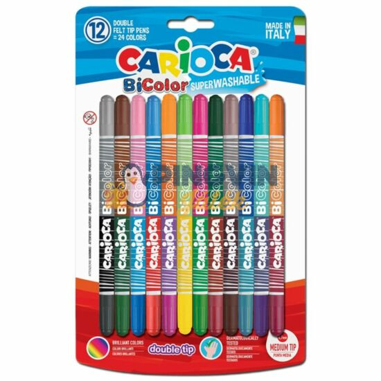 Carioca Kétvégű,kétszínű filctoll készlet 12db-os