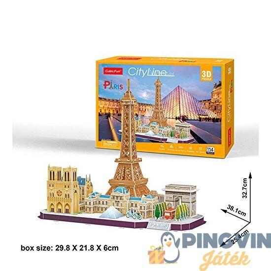 3D puzzle: City Line Párizs 114 db-os - Cubicfun