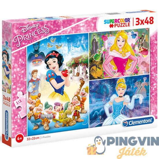 Clementoni - Disney Hercegnők Supercolor 3 az 1-ben puzzle 3x48db-os (25211)