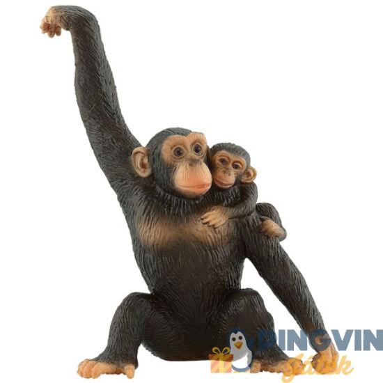 Bullyland: Csimpánz kölykével játékfigura