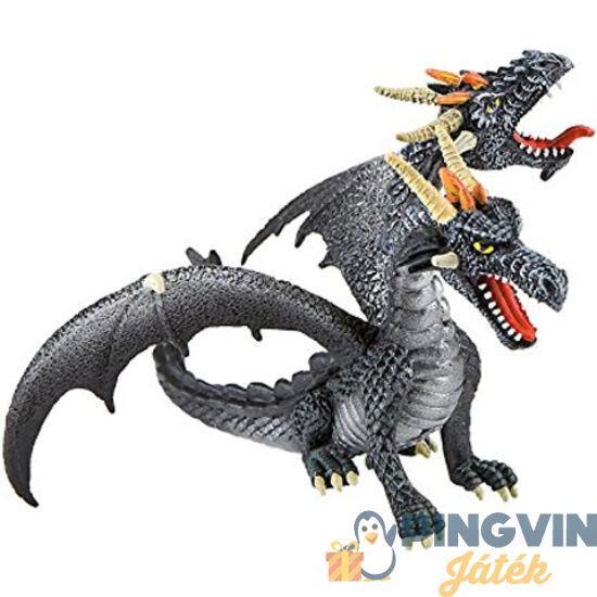 Bullyland: Dupla fejű fekete sárkány játékfigura