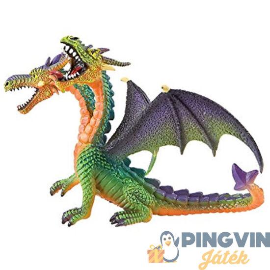 Bullyland - Dupla fejű zöld sárkány játékfigura (75596)