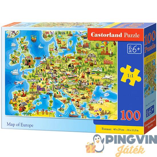 Castorland - Európa térképe 100db-os puzzle (B-111060)