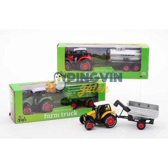 Fém traktor utánfutóval - 22 cm, többféle