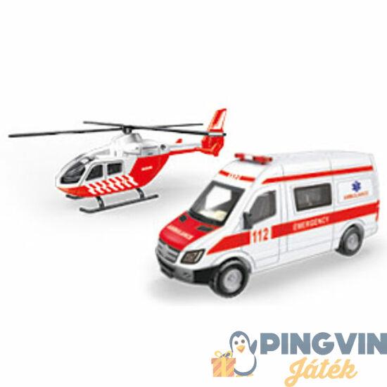 Helikopter mentőautóval jármű szett 1/64 - Mondo Motors