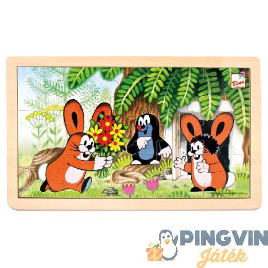 Kisvakond és nyuszik keretes fa puzzle 15db-os - Bino Toys
