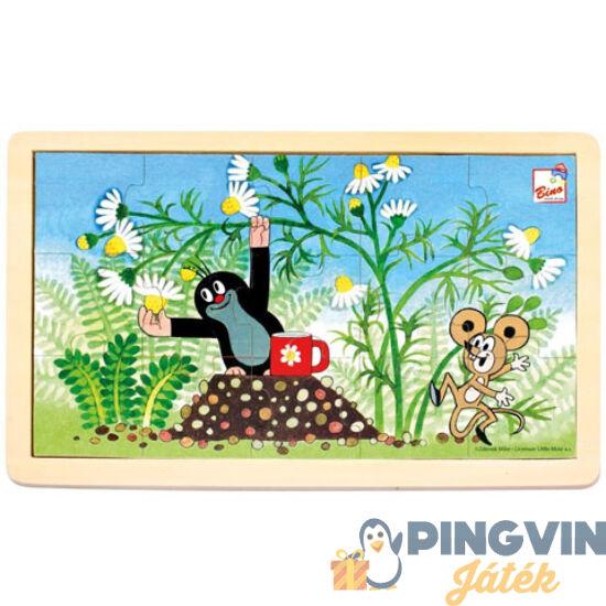 Kisvakond és virágok keretes fa puzzle 15db-os - Bino Toys