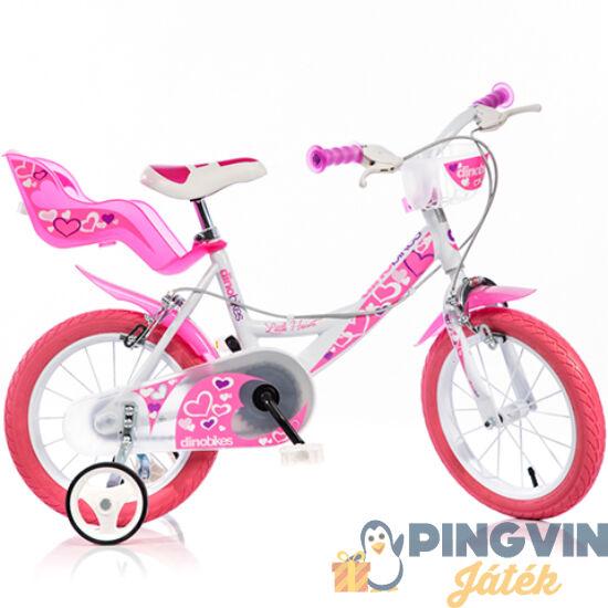 Little Heart rózsaszín-fehér kerékpár 16-os méretben