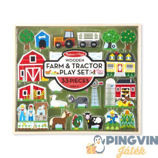 Melissa&Doug - Fa Építőjáték, Farm És Traktor