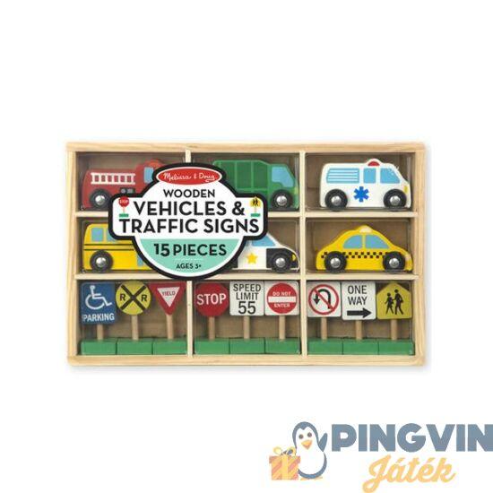 Melissa&Doug - Fa autók és közlekedési táblák 3177