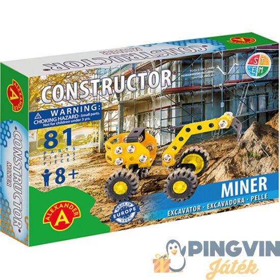 Miner excavator úthenger fém építőjáték 81db-os - Alexander Toys