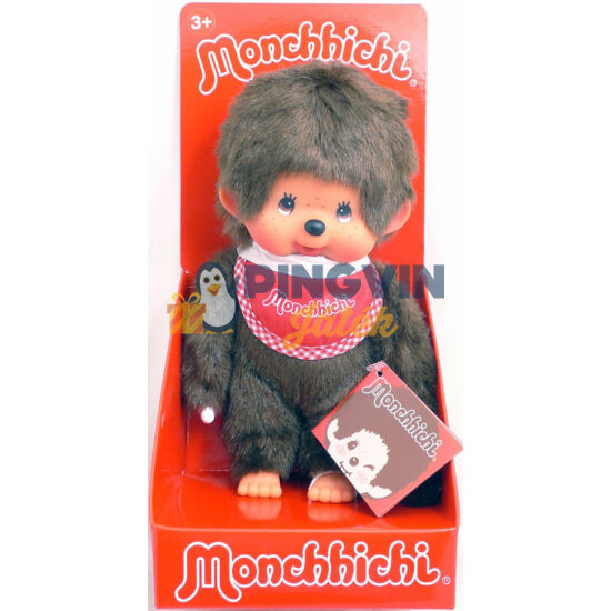 Monchhichi klasszikus fiú piros előkével 20cm-es 255010
