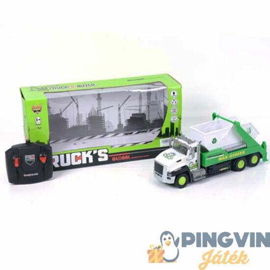 RC távirányítós konténer szállító autó zöld színben fénnyel - MK Toys