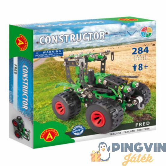 Zöld traktor modell fém építőjáték 284db-os - Alexander Toys