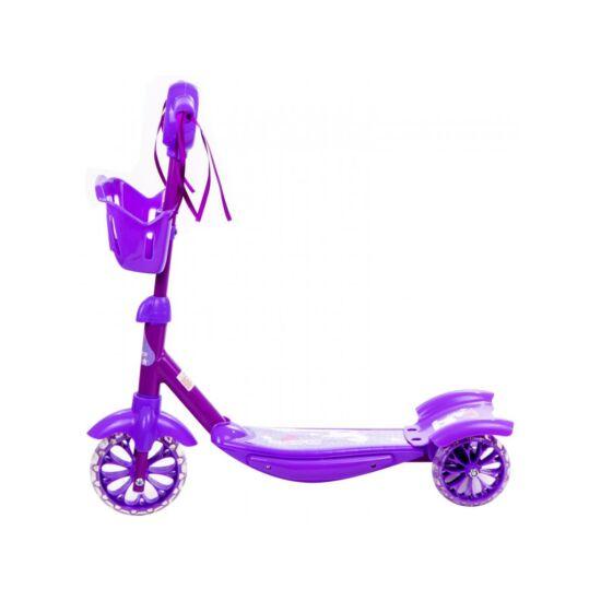 Háromkerekű roller kosárkával , lilla