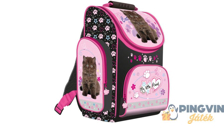 0ca5c0e30e69 My Little Friend fekete cicás ergonomikus iskolatáska hátizsák 36*28*16 cm