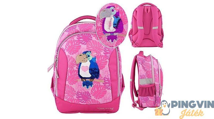 ad4c4dd93993 Depesche - TopModel: Pink, flitteres, papagájos iskolai hátizsák 10448